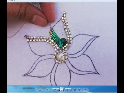 Hand Embroidery.Amazing Flower  Embroidery with Beads,Beads Embroidery Work