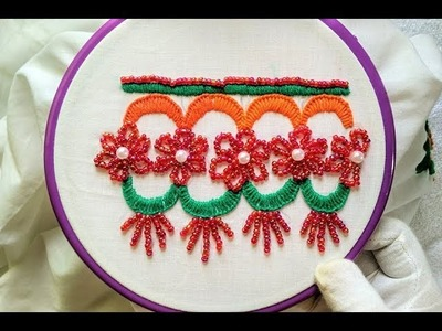 Hand Embroidery - Design for Dress Border (Bead's Works + Blanket Stitch)