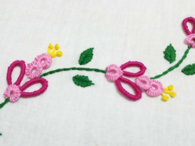 Hand embroidery of a flower creeper with bullion and cast on stitch