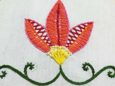 Hand embroidery of a flower with bullion and herringbone stitch