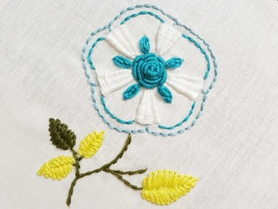 Hand embroidery of a flower with weaving bar stitch and bullion stitch