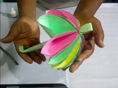How to  Easy Paper umbrella make⇒kivabe kagoje diye chata banay ➤Different Tube Media
