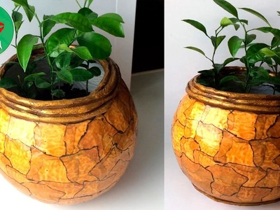 How to make a cement pot at home. Marble Imitation