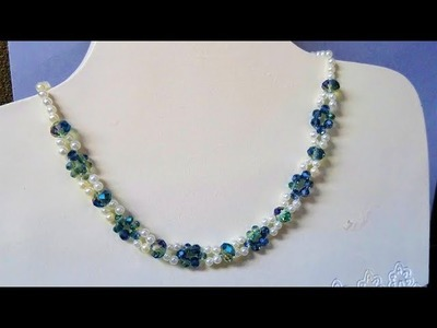 How to make a necklace in 10 minutes. Beaded necklace tutorial.