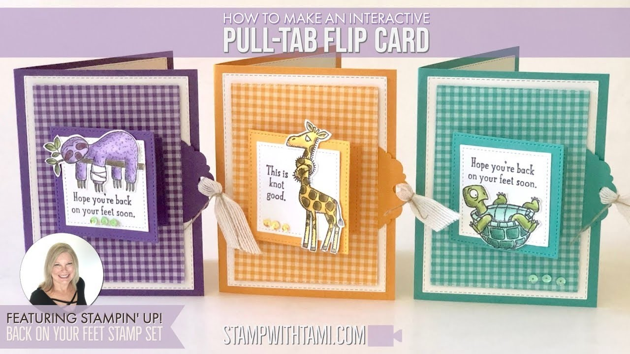 How to make an interactive Pull-Tab Flip Card featuring Stampin' Up Back on Your Feet