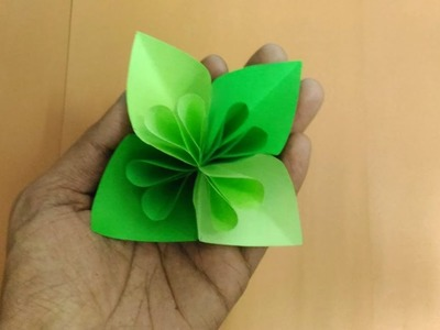 How to make Green flower using origami paper. !