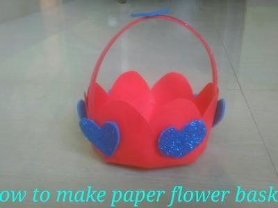 How to Make Paper Flower Basket - DIY Flower Basket Shaped Paper Basket For Occasion