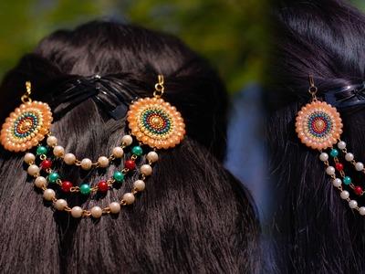 How to make paper juda pin.hair pin | DIY | hair assesories | Crafty Butterfly 022