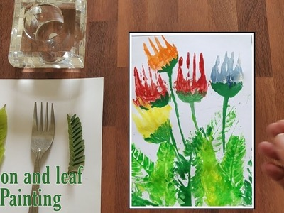 Leaf and spoon Painting | Art and craft ideas | #spoonpainting #leafpainting #forkPainting
