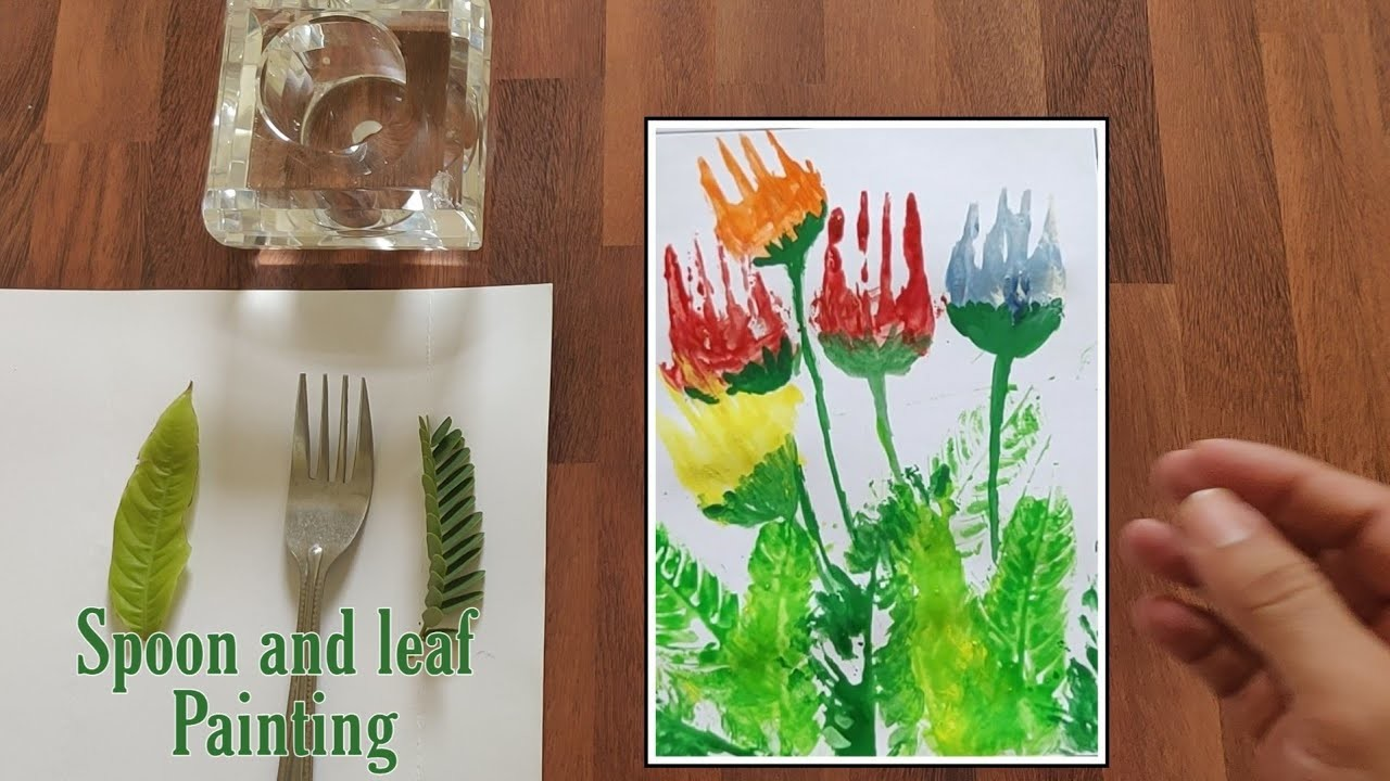 Leaf and spoon Painting   Art and craft ideas   #spoonpainting #leafpainting #forkPainting
