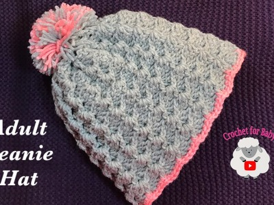 LEFT Handed Adult unisex crochet beanie hat - Crystal Waves crochet stitch -Crochet for Baby #192