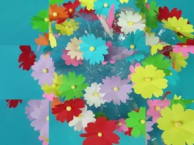 Make Beautiful flower | Empty plastic bottle vase making crafts || Make Wonderful flower with paper