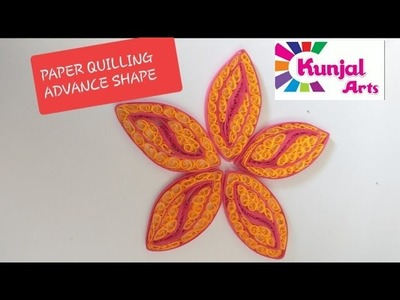 PAPER QUILLING FLOWER PETAL. ADVANCE QUILLING. QUILLING SHAPES. CREATIVE. PINK YELLOW PETAL