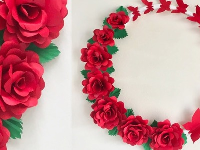PAPER ROSE WALL HANGING | PAPER FLOWER WALL HANGING | PAPER ROSE WALL CRAFT