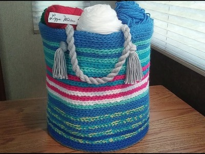 Part 2 Crochet a Round Basket with Yarn Rope Handle