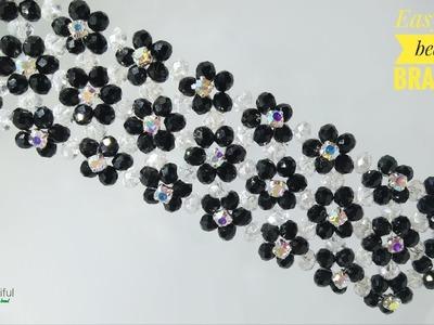 Shine sparkling cuff bracelet | Easy DIY beaded bracelet | How to make bracelet