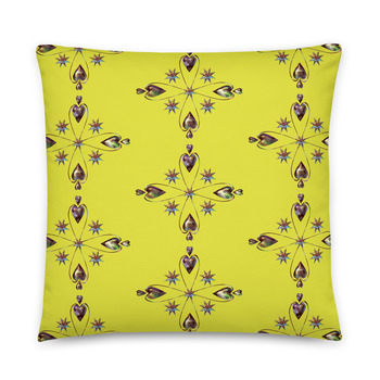 Throw Pillow - HELIUM HEART YELLOWLIME Cushion. 2 sided fabric cover & Insert by Livz Design