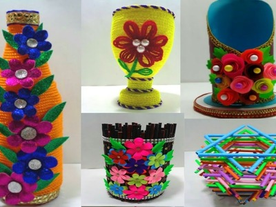 Top 5 Flower Vase Making Idea - Five Beautiful Flower Vase Making - DIY Making Flower vase
