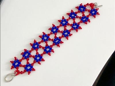 Beaded Cuff Bracelet    DIY Beaded Bracelet    How to make Beaded Bracelet