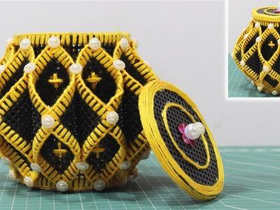 Beautiful jewelry box with woolen & plastic canvas| Diy jewelry box
