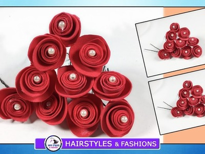 Beautiful Red Flowers Hair Accessory With Brooch Tutorial|| DIY||Hairstyles and Fashions