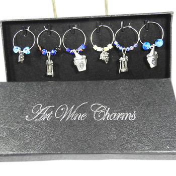 Boxed Set Of Six Drinking Themed Wine Glass Charms - FREE SHIPPING