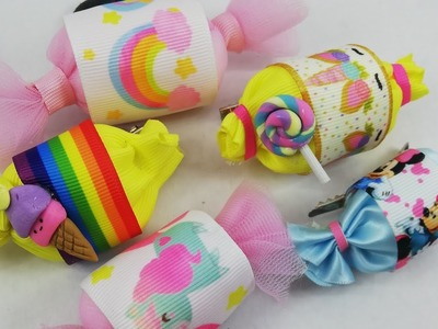 Candy hairclips ???? moños - how to- crafts - tutorial - diy