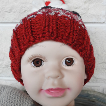 Child's Multicoloured Winter Hat With A Santa Claus Figure On Top - Free Shipping