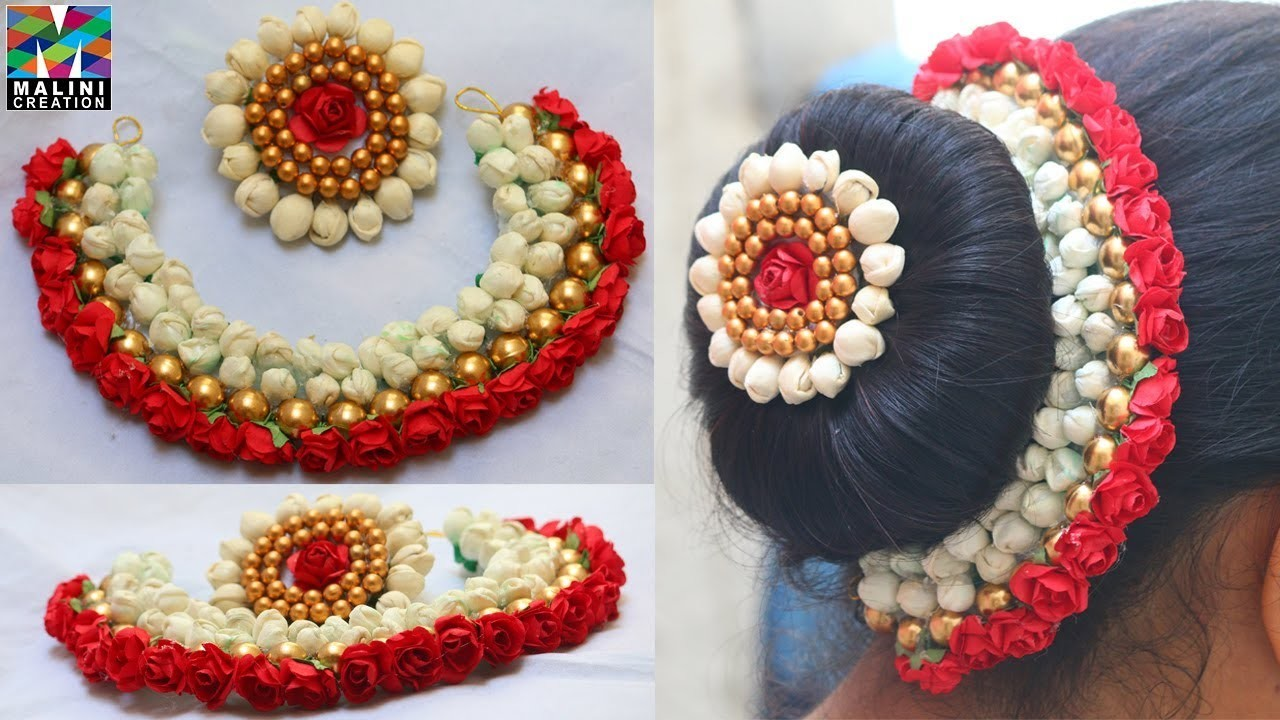 DIY.Beautiful red flowers buds & golden beads hair accessory with brooch tutorial