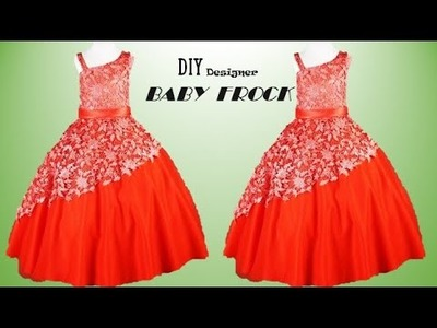 DIY Designer one sided baby frock Cutting and stitching Full Tutorial