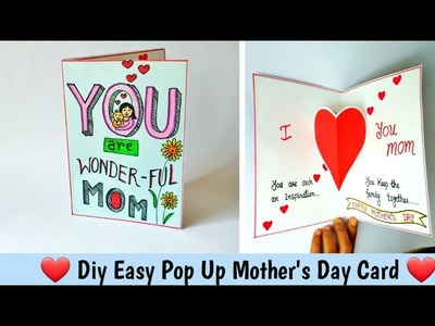 Diy Easy Mother's Day Card Tutorial. How to make Pop up Handmade Mother's day card #Kidscraft