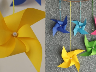 DIY paper windmill wall hanging - Easy paper wall hanging tutorial