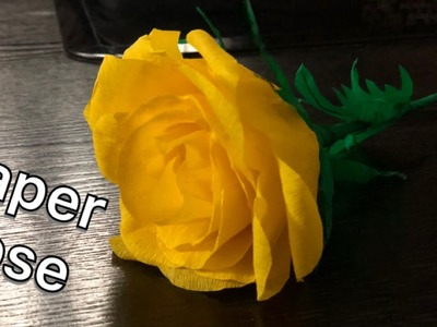 DIY rose from crepe paper.How to make realistic and easy rose.rosas de papel.Papier stieg auf