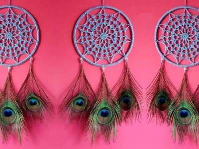 DIY Super Easy Way to Make Dreamcatcher Using Peacock Feathers | Slow tutorial