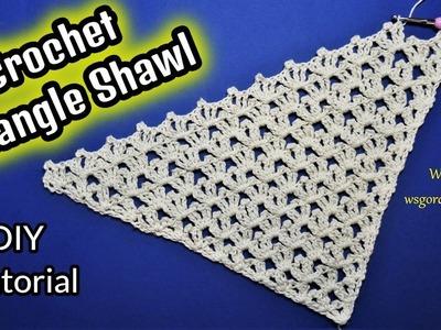 DIY Tutorial Crochet Triangle Shawl Stitch
