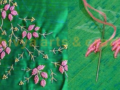 Hand embroidery leaf bullion stitch | normal needle stitch | diy | #244