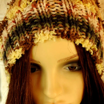 Hand Knitted Woman's Brown Multicoloured Pom Pom Hat - Free Shipping