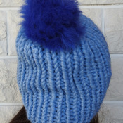 Hand Knitted Women's Blue Ribbed Winter Hat With A Blue Pom Pom - Free Shipping