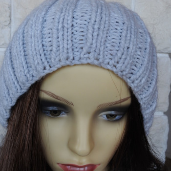 Hand Knitted Women's Light Grey Ribbed Winter Hat With A Black Pom Pom - Free Shipping