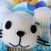 Handmade Child's Knitted Blue Cat Scarf - Free Shipping