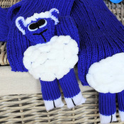 Handmade Child's Knitted Blue Lamb Scarf - Free Shipping