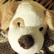 Handmade Child's Knitted Fawn And White Puppy Hat - Free Shipping