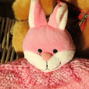 Handmade Child's Knitted Pink And White Bunny Hat - Free Shipping