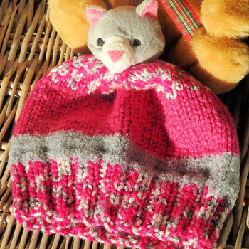 Handmade Child's Pink And Grey Kitten Hat - Free Shipping