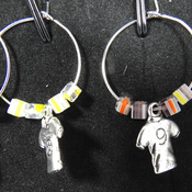 Handmade Football Wine Glass Charms In A Box - FREE SHIPPING