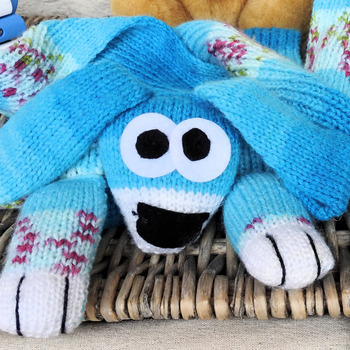 Handmade Knitted Patterned Blue Child's Dog Scarf - Free Shipping