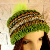 Handmade Woman's Knitted  Green Muticoloured Pom Pom Hat - Free Shipping