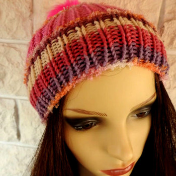Handmade Woman's Knitted Pink Muticoloured Pom Pom Hat - Free Shipping