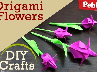 How to make origami flowers with Craft Paper | DIY Crafts for kids | in English