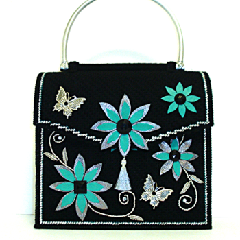 Jeweled Black,Sliver & Teal  Floral Handbag